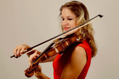 Zlata bowing exercise on violin - red dress