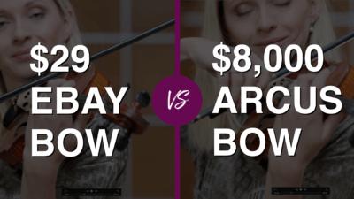 Violinist tries $ 29 eBay Violin Bow vs $ 8.000 Professional Bow   Violin Lounge TV #318