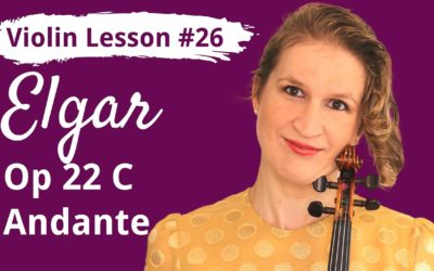 FREE Violin Lesson #26 Andante op22C by Elgar EASY TUTORIAL
