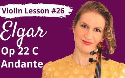 FREE Violin Lesson #26 Andante op22C by Elgar EASY TUTORIAL