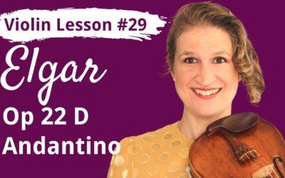 FREE Violin Lesson #29 Andantino op 22D by Elgar EASY TUTORIAL