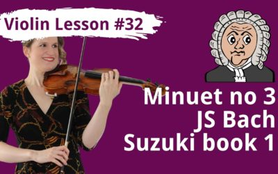 FREE Violin Lesson #32 Minuet in G Major by JS Bach SLOW play along + tutorial