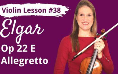 FREE Violin Lesson #38 Allegretto op 22E by Elgar EASY TUTORIAL